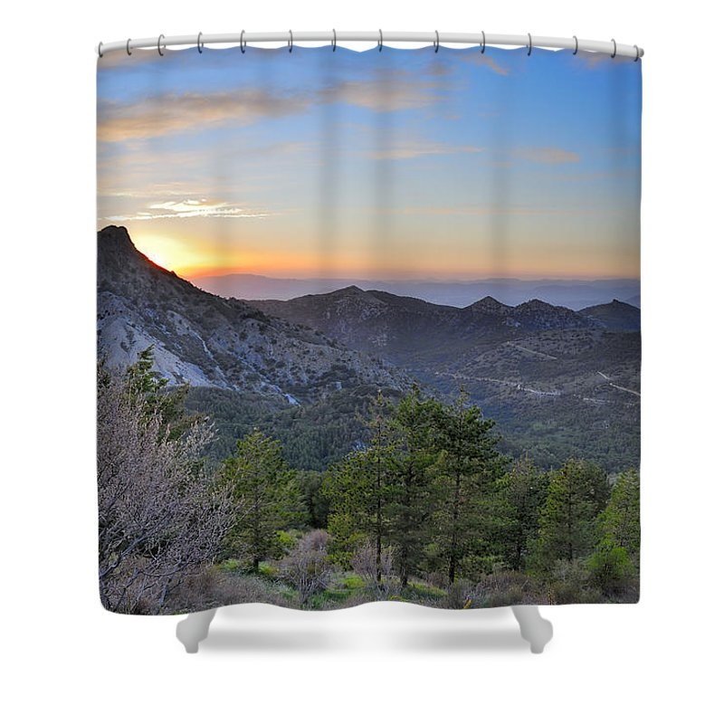 Sunset Shower Curtain featuring the photograph Trevenque Mountain At Sunset 2079 M by Guido Montanes Castillo
