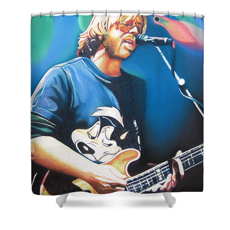 Phish Shower Curtain featuring the drawing Trey Anastasio And Lights by Joshua Morton