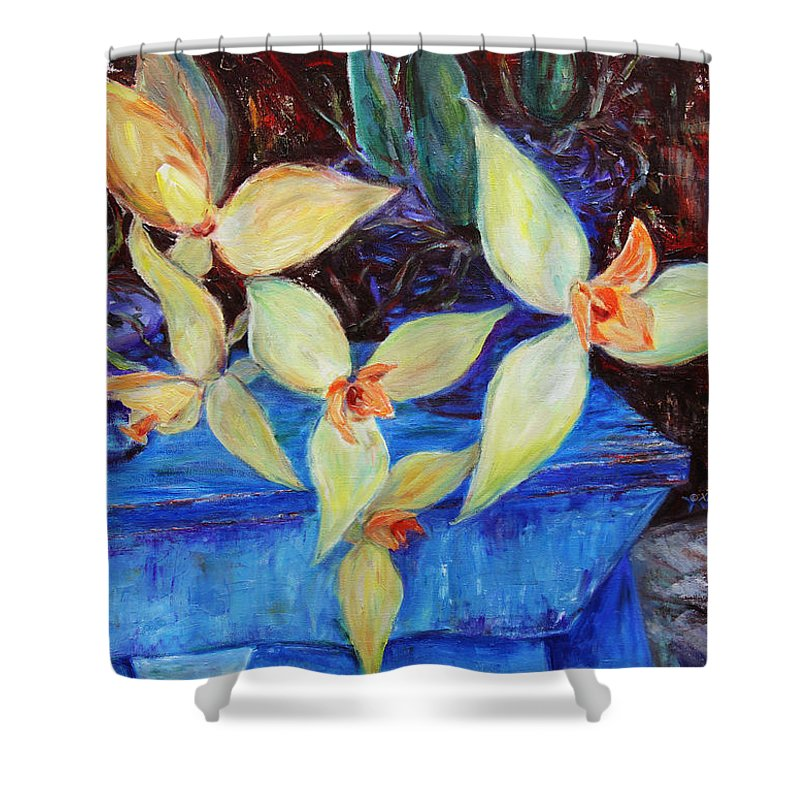 Still Life Shower Curtain featuring the painting Triangular Blossom by Xueling Zou