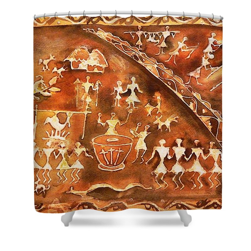 India Shower Curtain featuring the painting Tribal Art by Geeta Biswas