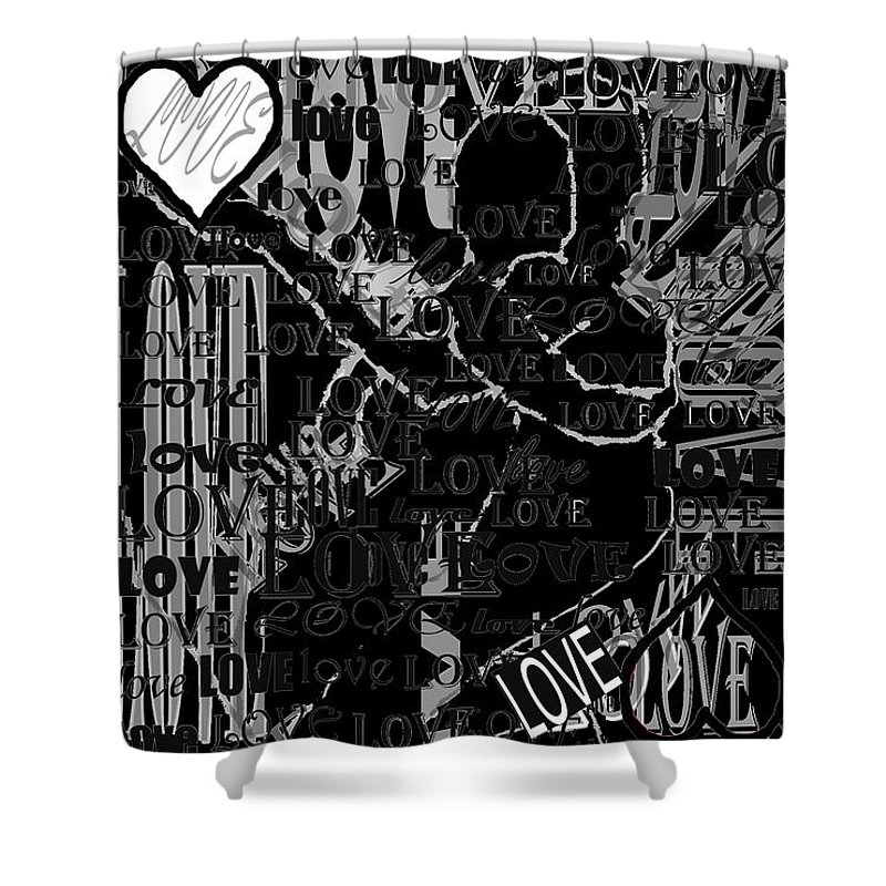 Love Shower Curtain featuring the digital art Tribute To Love In Black by Pharris Art