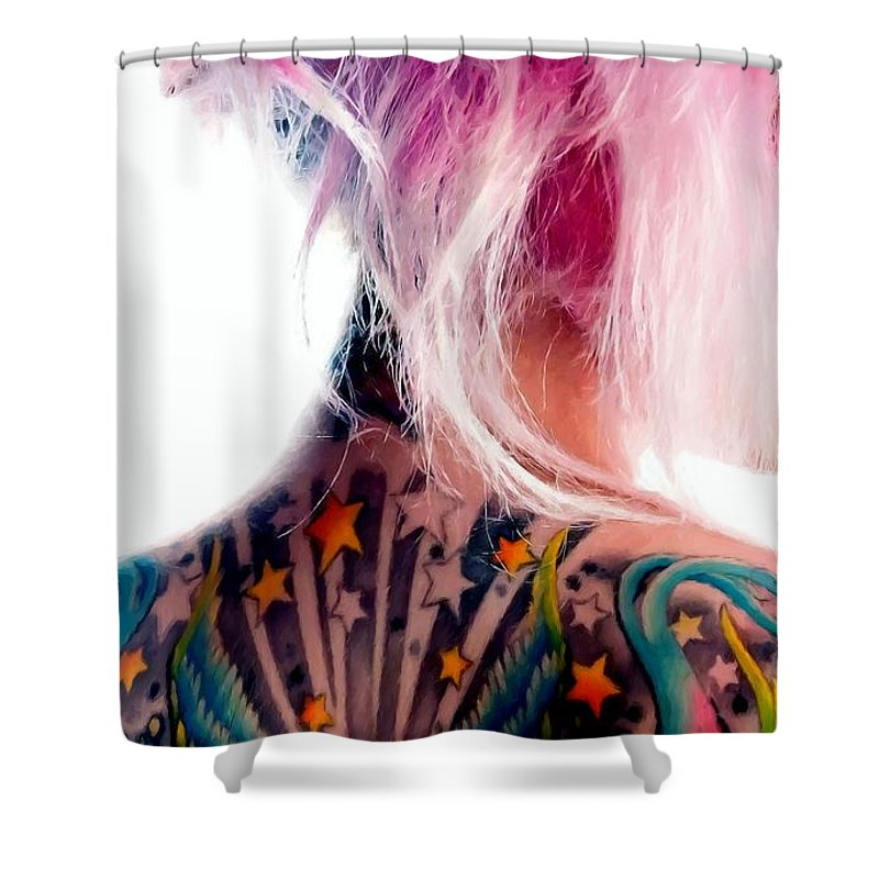 Tattoo Girl Shower Curtain featuring the digital art Tribute to Suicide Girls 3 by Gabriel T Toro