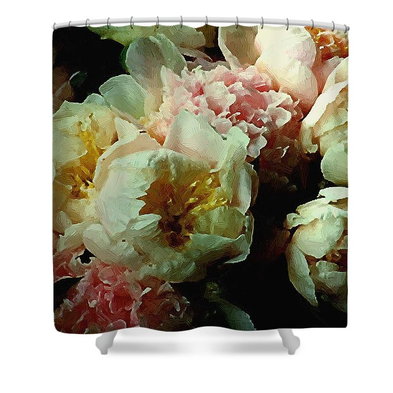 Peonies Shower Curtain featuring the painting Tribute To The Old Masters by RC DeWinter