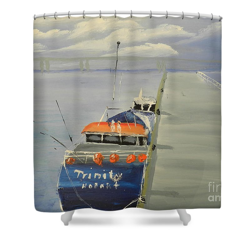 Impressionism Shower Curtain featuring the painting Trinity Long Line Fishing Trawler At San Remo by Pamela Meredith