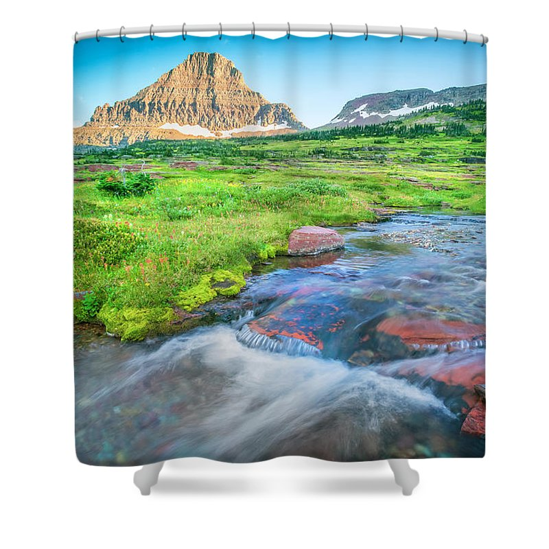 Glacier National Park Shower Curtain featuring the photograph Triple Falls Stream Glacier National Park by Rich Franco