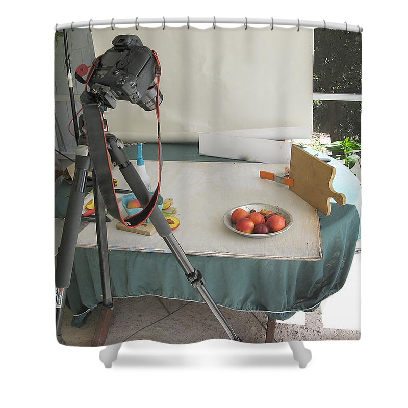 Bowl Of Fruit Shower Curtain featuring the photograph Tripod And Bowl Of Fruit by Rich Franco