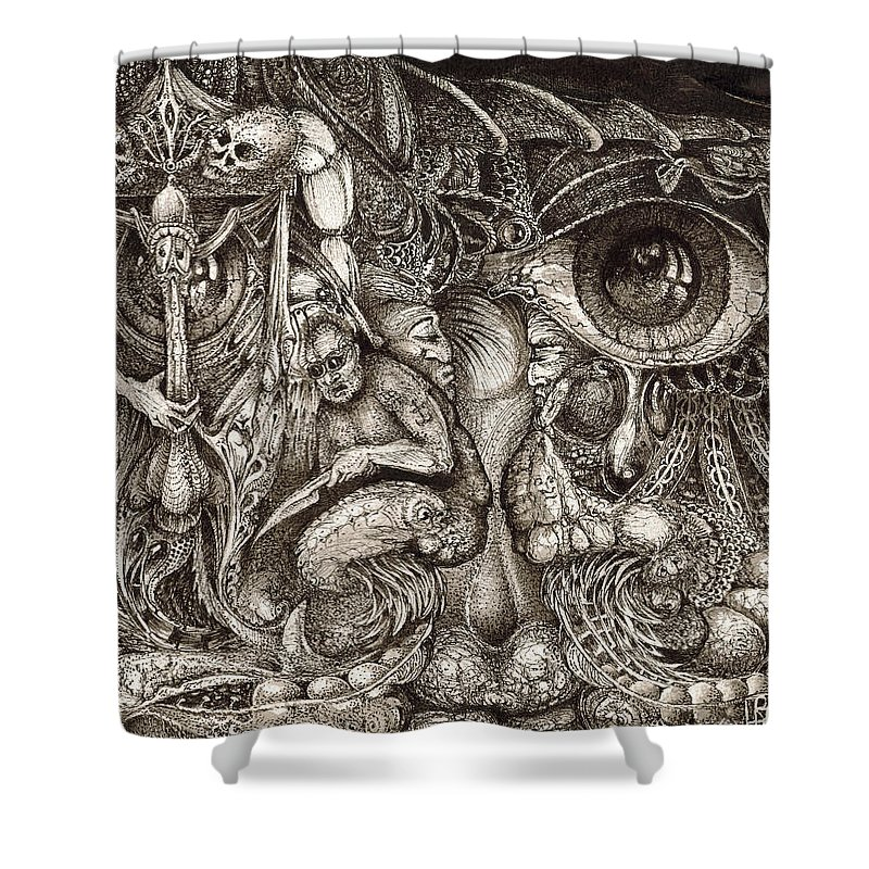 Surreal Shower Curtain featuring the drawing Tripping Through Bogomils Mind by Otto Rapp