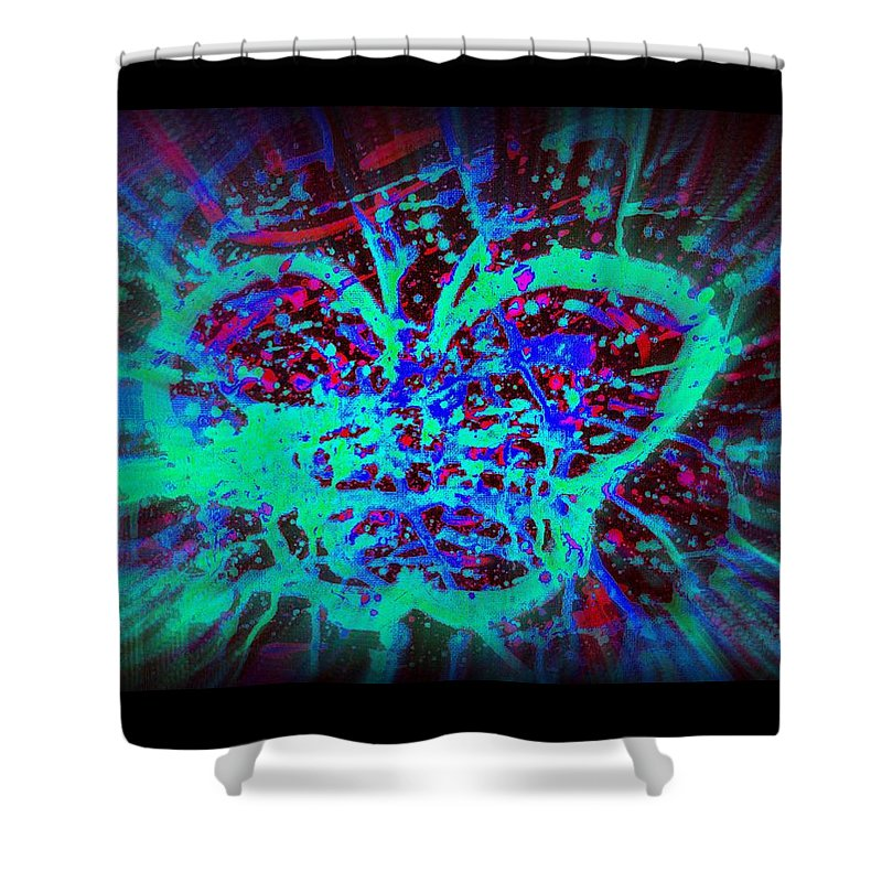 Butterfly Trippy Psychedelic Green Red Black Blue Shower Curtain Featuring The Painting By Craig