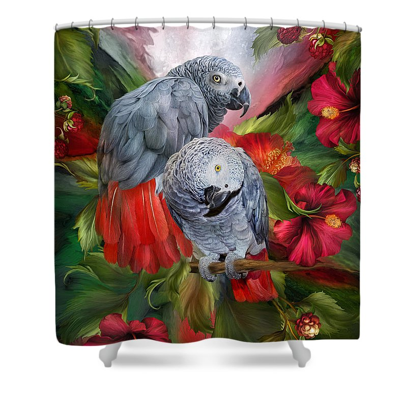 Parrot Mixed Media Shower Curtains