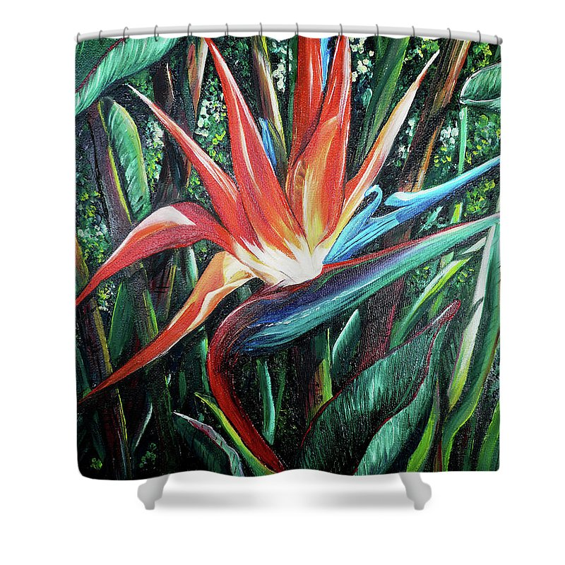 Floral Shower Curtain featuring the painting Tropical Bird by Karin Dawn Kelshall- Best