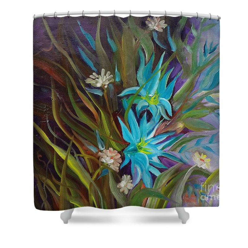 Tropical Floral Shower Curtain featuring the painting Tropical Blue by Jenny Lee