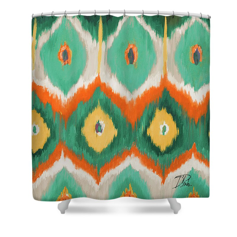 Tropical Shower Curtain featuring the painting Tropical Ikat II by Patricia Pinto