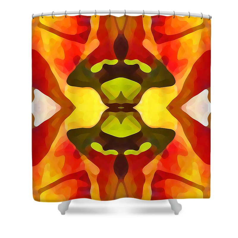 Abstract Shower Curtain featuring the painting Tropical Leaf Pattern 1 by Amy Vangsgard
