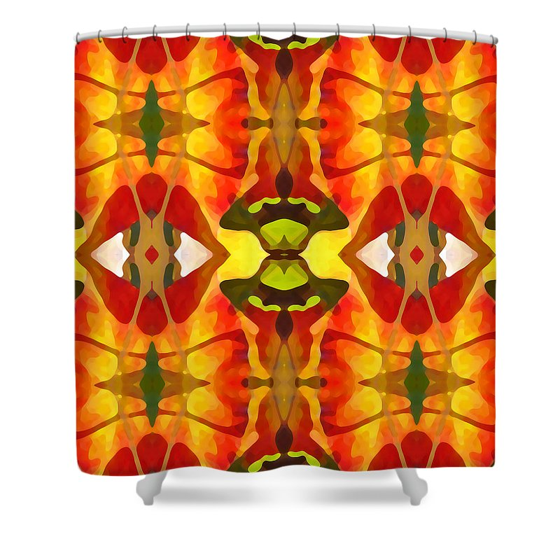 Abstract Shower Curtain featuring the painting Tropical Leaf Pattern 4 by Amy Vangsgard
