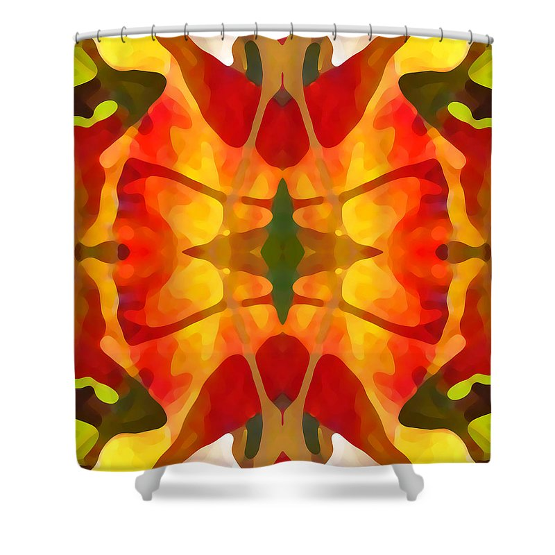 Abstract Shower Curtain featuring the painting Tropical Leaf Pattern5 by Amy Vangsgard