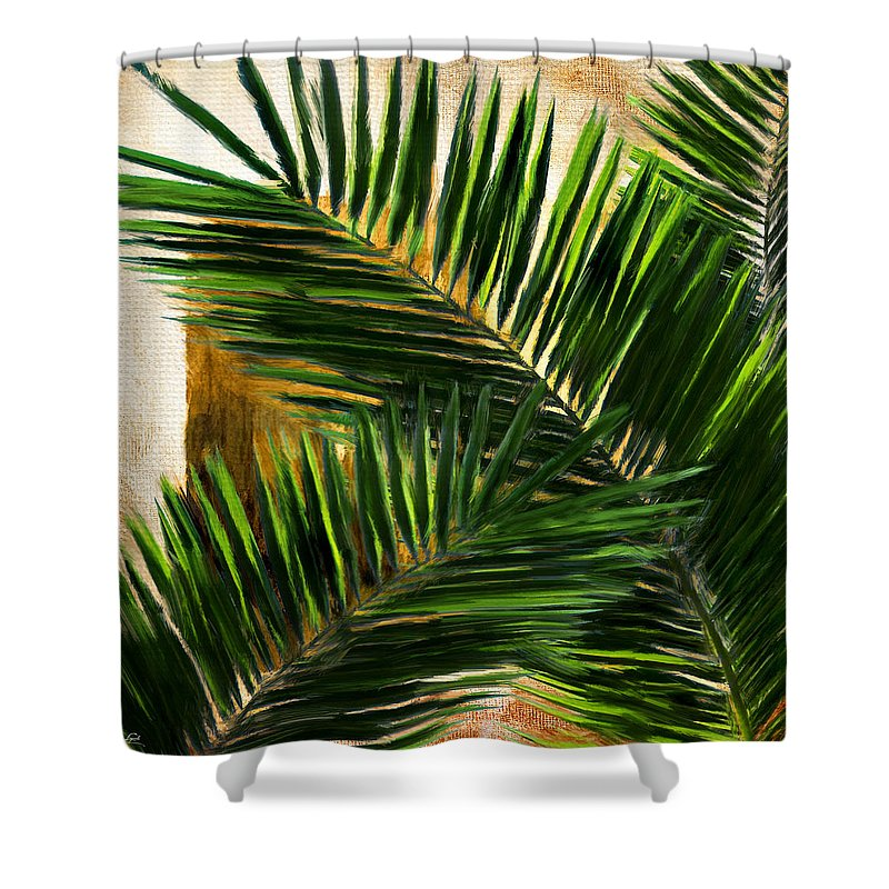 Tropical Leaves Shower Curtain featuring the digital art Tropical Leaves by Lourry Legarde