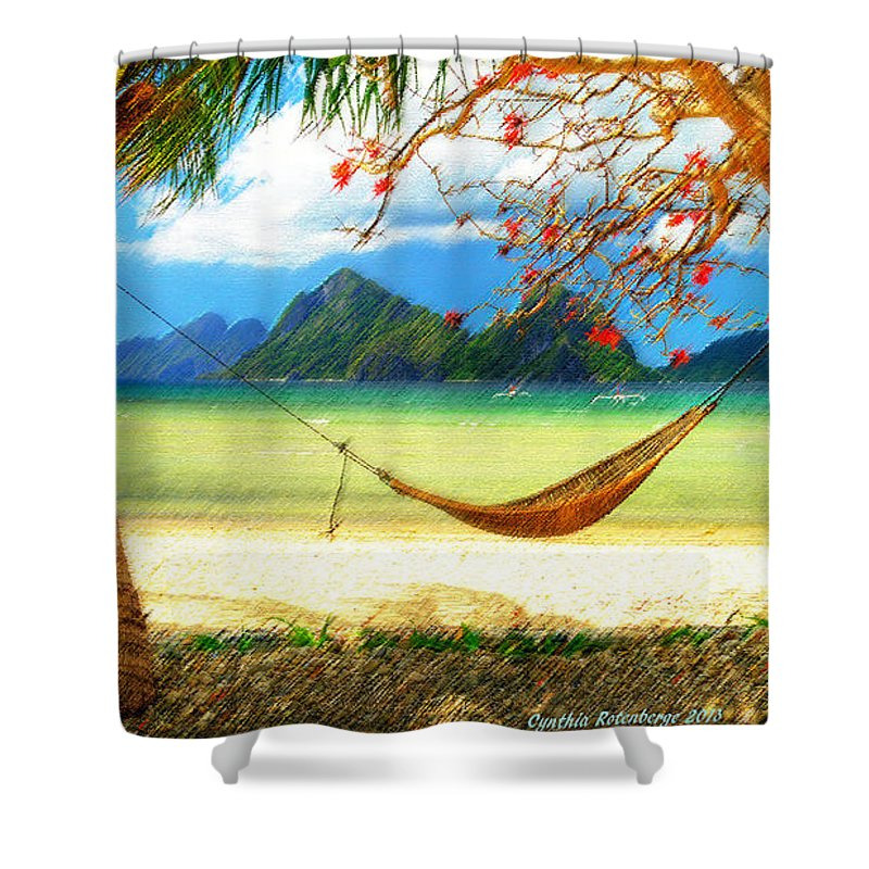 Global Awakening Ocean Sea Tropical Transformation Revival Shower Curtain featuring the mixed media Tropical Peace by Cynthia Rotenberger