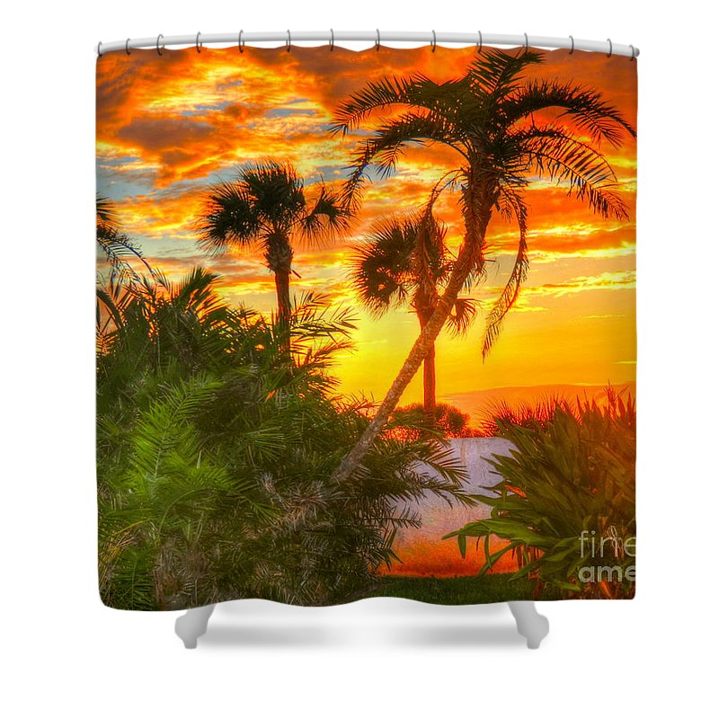 Palm Trees Shower Curtain featuring the photograph Tropical Sunset by Debbi Granruth