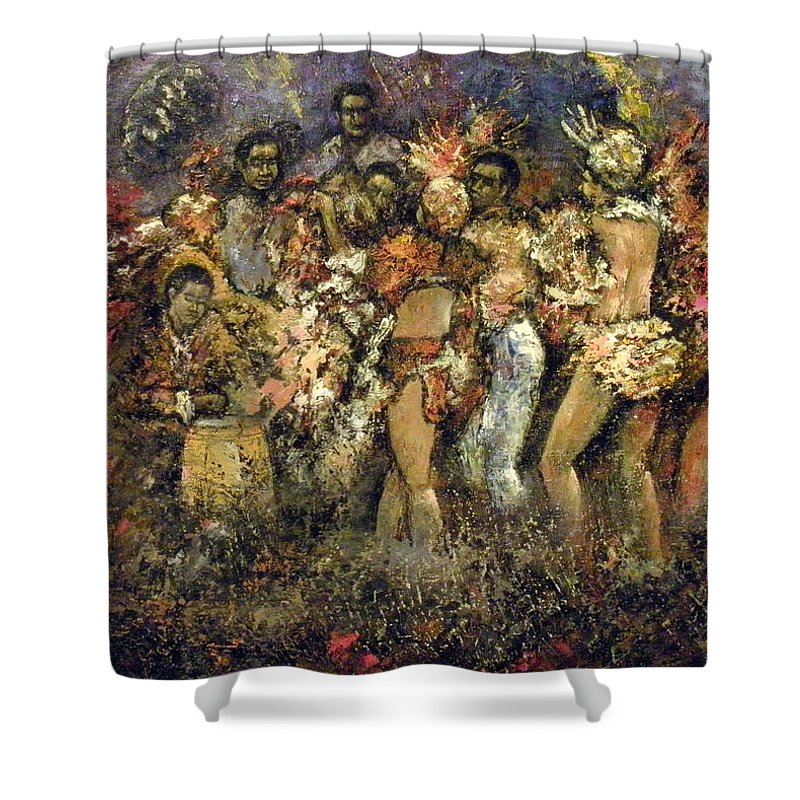 Tropicana Shower Curtain featuring the painting Tropicana Havana by Tomas Castano