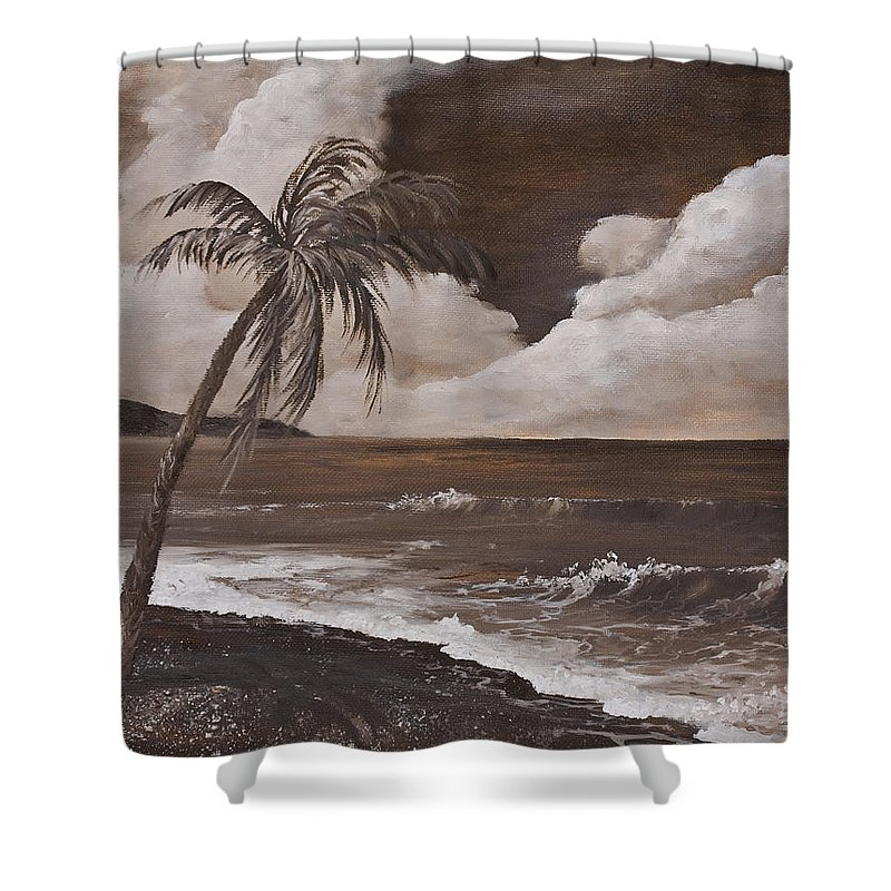 Hawaiian Island Shower Curtain featuring the painting Tropics In Brown by Darice Machel McGuire