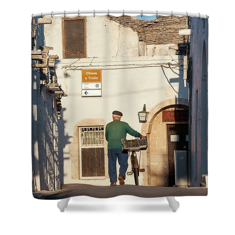 People Shower Curtain featuring the photograph Trulli Houses Alberobello Apulia Puglia by Peter Adams