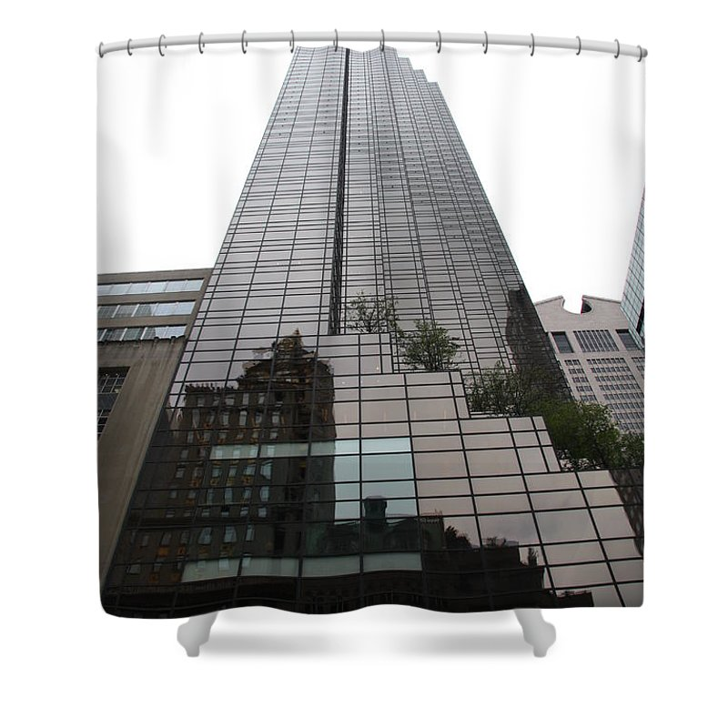 Building Shower Curtain featuring the photograph Trump Tower Reflection New York by Christiane Schulze Art And Photography