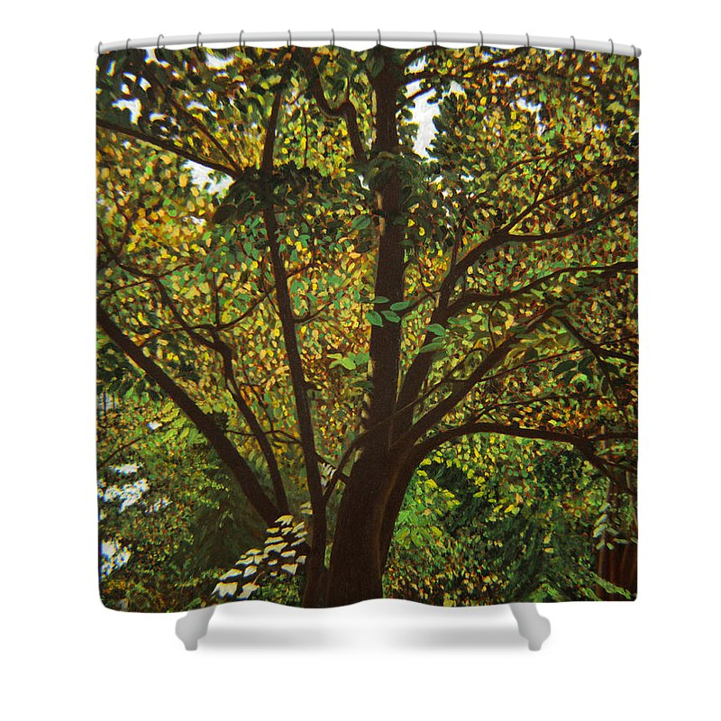 Tree Shower Curtain featuring the painting Trunk Of Life by Thu Nguyen