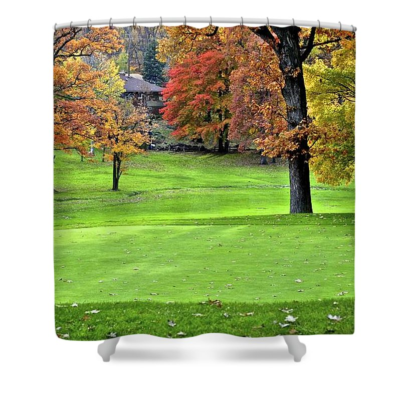 Golf Shower Curtain featuring the photograph Tucked Pin by Frozen in Time Fine Art Photography