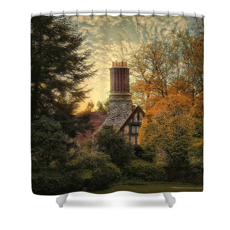 Home Shower Curtain featuring the photograph Tudor In Autumn by Jessica Jenney