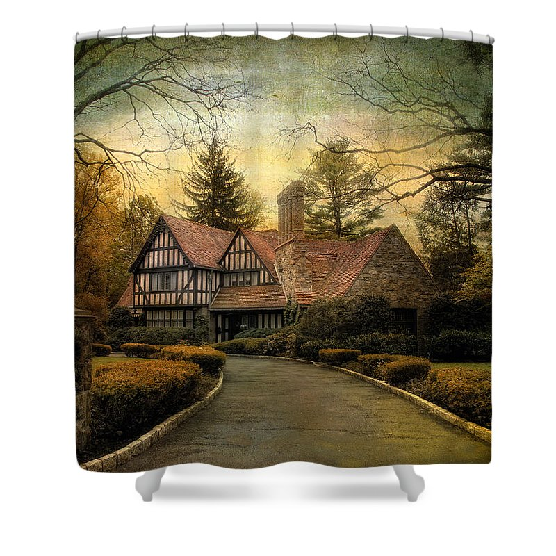 Tudor Shower Curtain featuring the photograph Tudor Road by Jessica Jenney