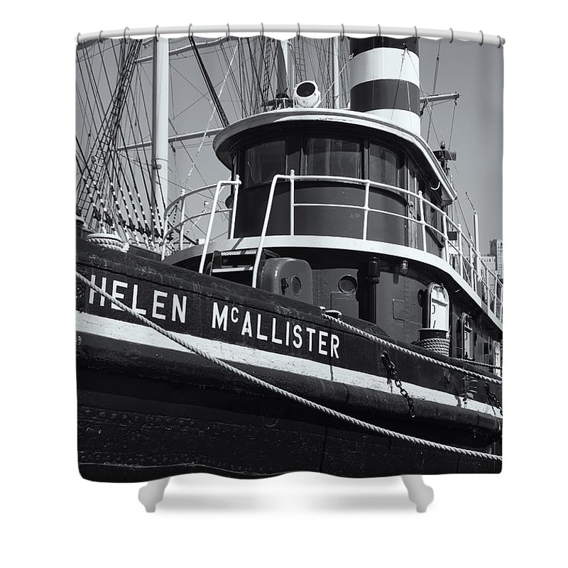 Clarence Holmes Shower Curtain featuring the photograph Tugboat Helen Mcallister II by Clarence Holmes