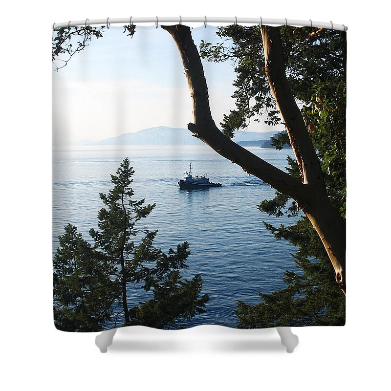 Tugboat Shower Curtain featuring the photograph Tugboat Passes by Lorraine Devon Wilke