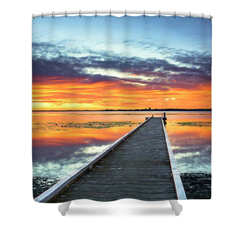 Tranquility Shower Curtain featuring the photograph Tuggerah Lake Jetty by Bruce Hood