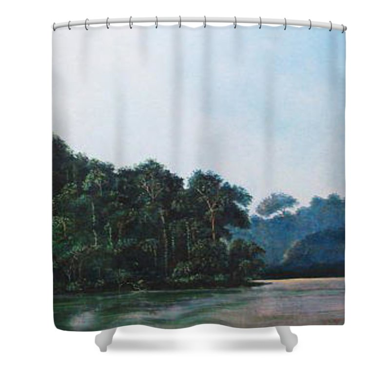 Landscape. Shower Curtain featuring the painting Tuira by Ricardo Sanchez Beitia