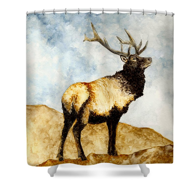 Animals Shower Curtain Featuring The Painting Tule Elk By Michael Vigliotti