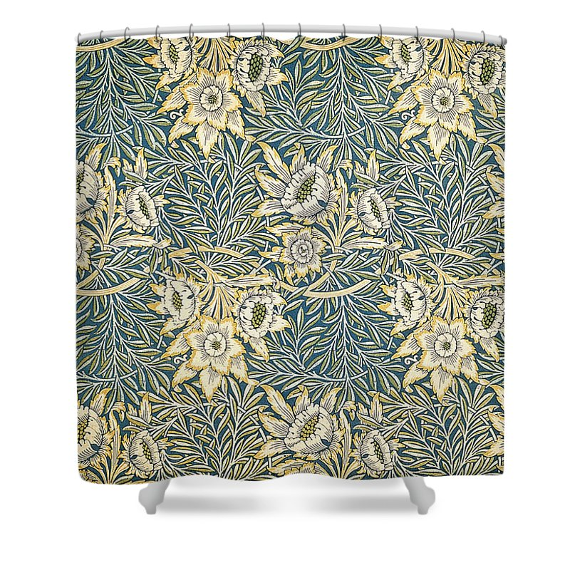Arts And Crafts Shower Curtain Featuring The Mixed Media Tulip Willow Pattern By William Morris
