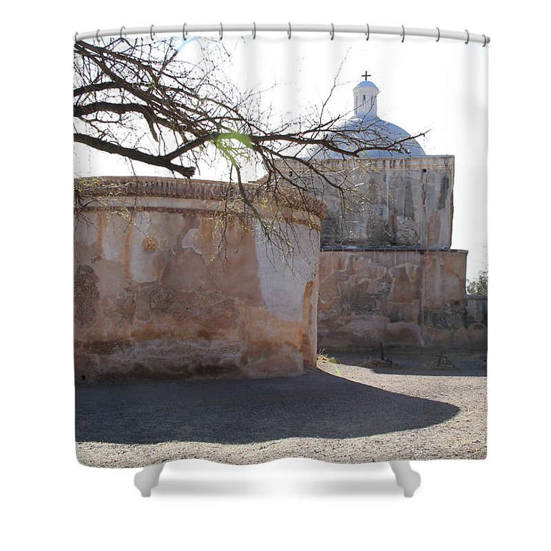 Arizona Shower Curtain featuring the photograph Tumacacori Mission by Ed Riche