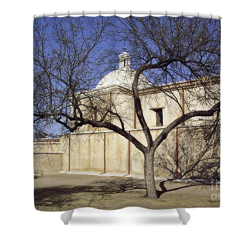 Mission Shower Curtain featuring the photograph Tumacacori With Tree by Kathy McClure