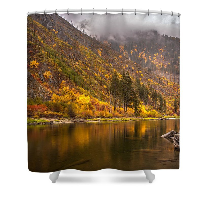 Fall Colors Shower Curtain featuring the photograph Tumwater Canyon Fall Serenity by Mike Reid
