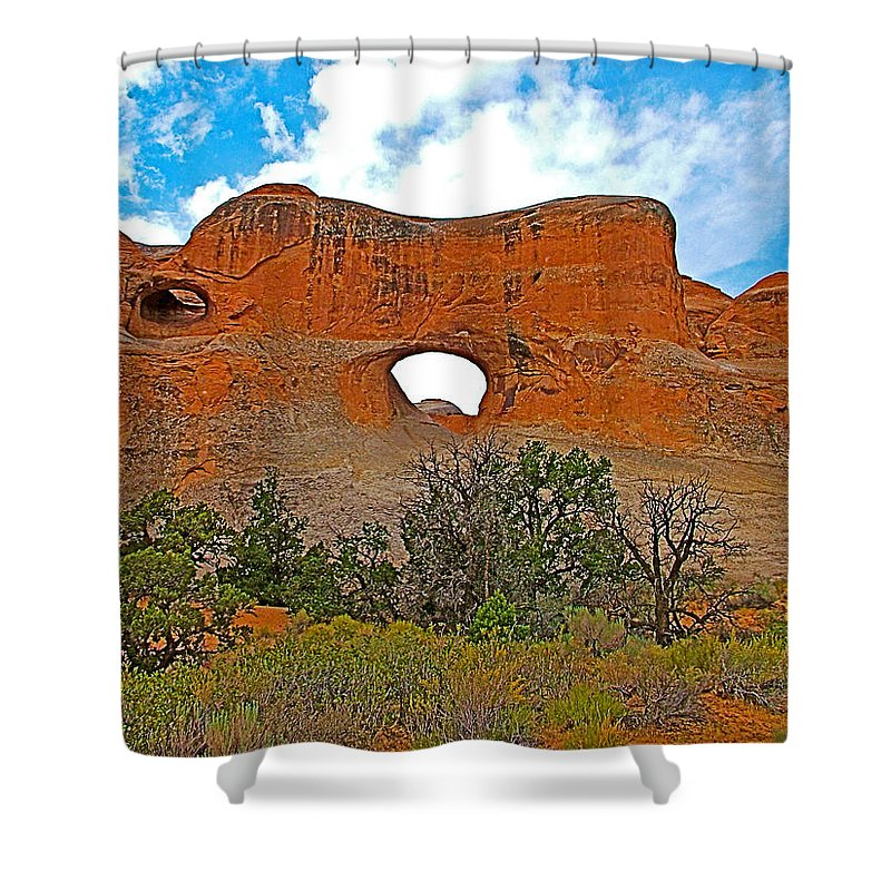Tunnel Arch On Devils Garden Trail In Arches National Park Shower Curtain featuring the photograph Tunnel Arch On Devils Garden Trail In Arches National Park-utah In Arches National Park-utah by Ruth Hager