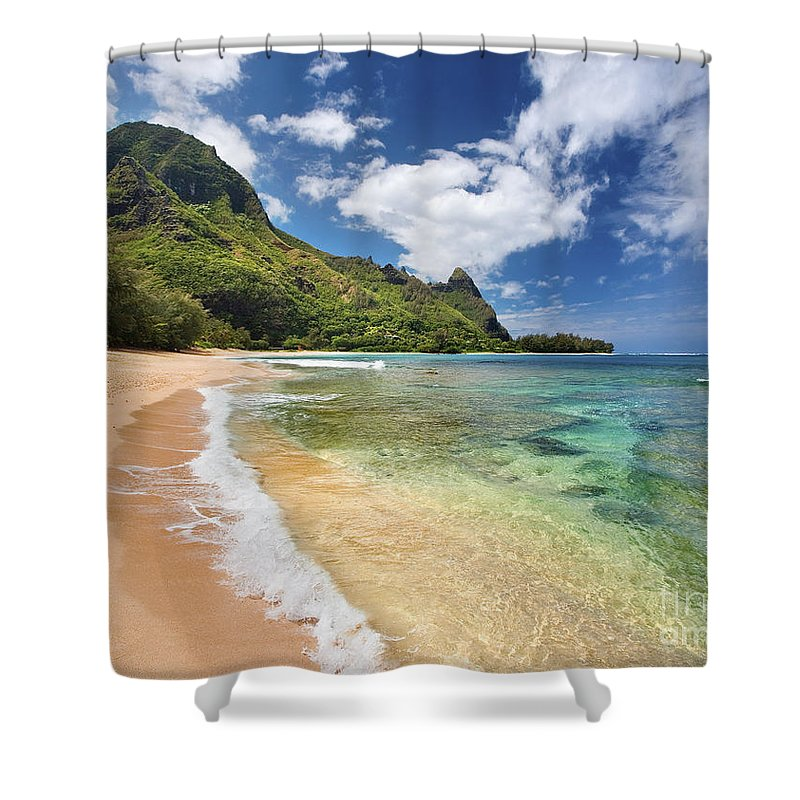 Afternoon Shower Curtain featuring the photograph Tunnels Beach Bali Hai Point by M Swiet Productions