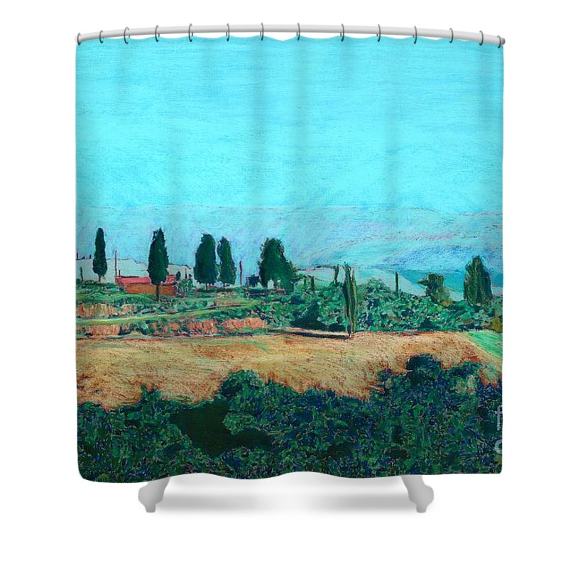 Landscape Shower Curtain featuring the painting Tuscan Farm by Allan P Friedlander