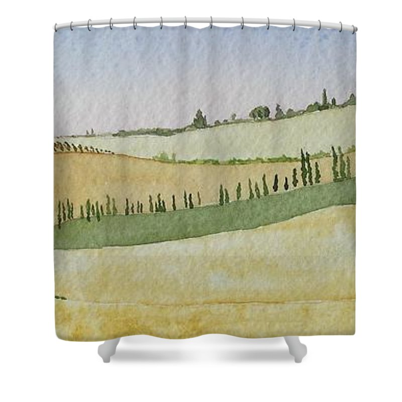 Italy Shower Curtain featuring the painting Tuscan Hillside Four by Mary Ellen Mueller Legault