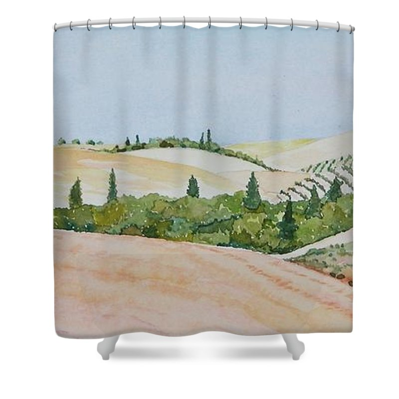 Landscape Shower Curtain featuring the painting Tuscan Hillside One by Mary Ellen Mueller Legault