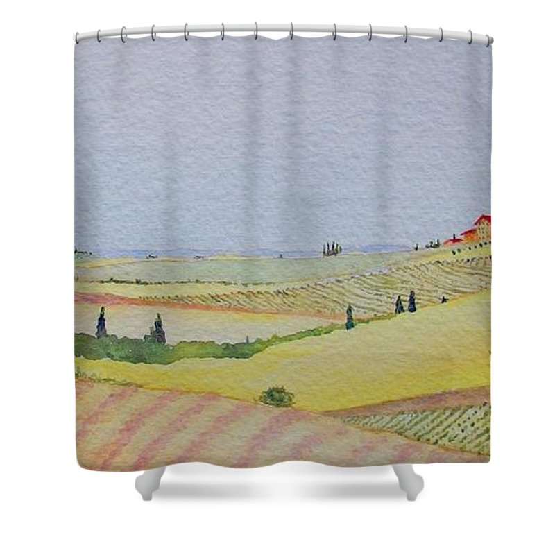 Watercolor Shower Curtain featuring the painting Tuscan Hillside Three by Mary Ellen Mueller Legault