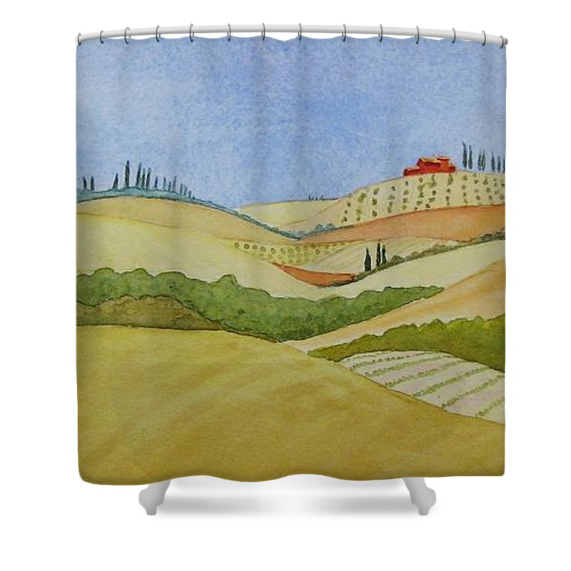 Italy Shower Curtain featuring the painting Tuscan Hillside Two by Mary Ellen Mueller Legault
