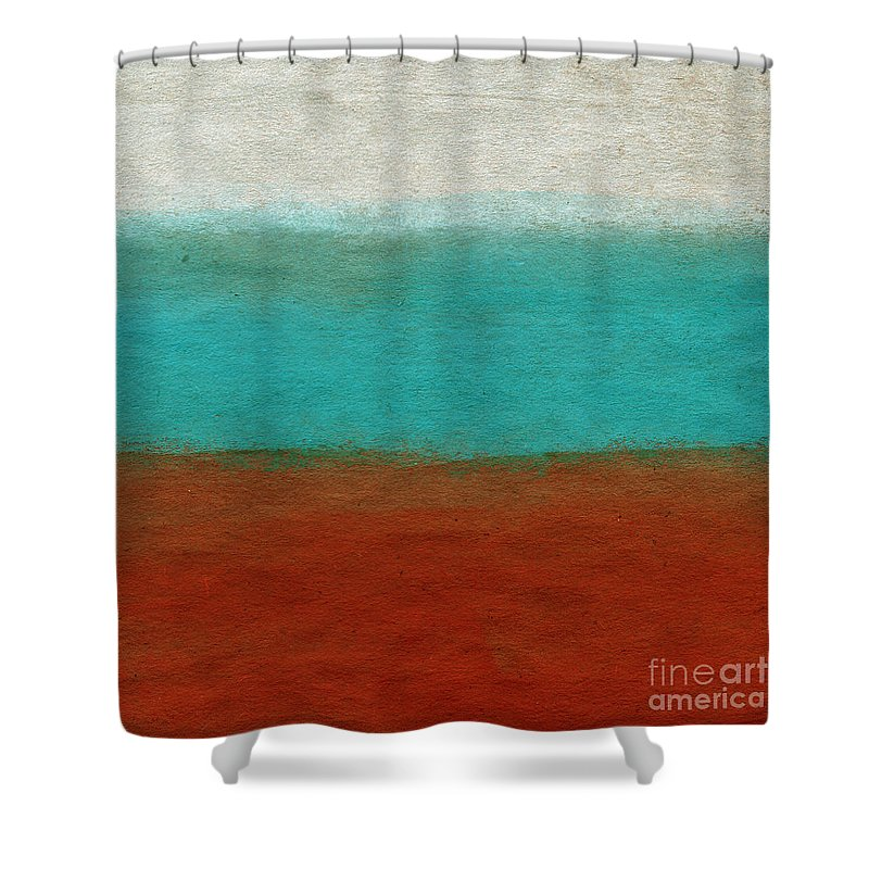 Abstract Landscape Shower Curtain featuring the painting Tuscan by Linda Woods