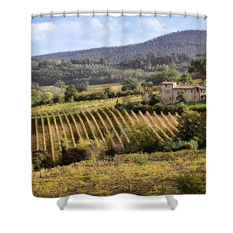Tuscany Shower Curtain featuring the photograph Tuscan Valley by Dave Bowman