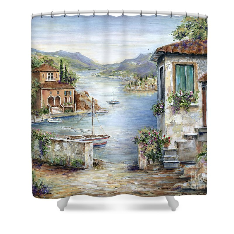 Tuscany Shower Curtain Featuring The Painting Tuscan Villas By Lake Marilyn Dunlap