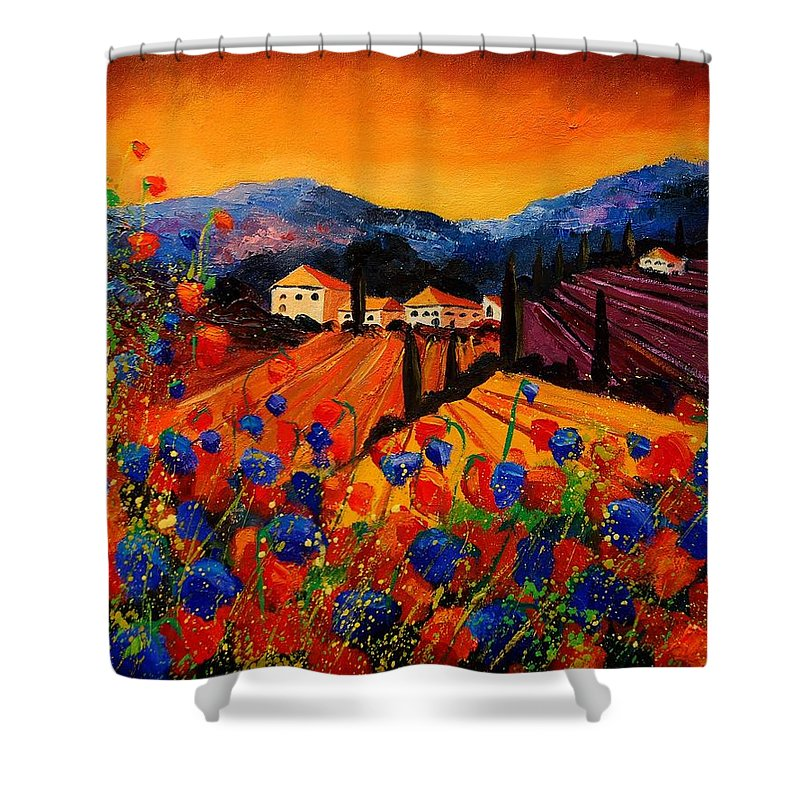 Poppies Shower Curtain featuring the painting Tuscany Poppies by Pol Ledent